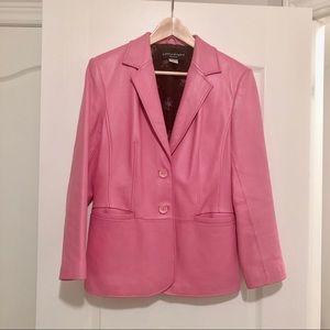 Bianca Nygard leather jacket blazer pink petite 10